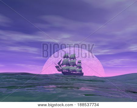 Old merchant ship in front of the moon on the ocean by cloudy sunset - 3D render