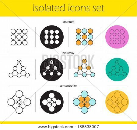 Abstract symbols icons set. Linear, black and color styles. Structure, hierarchy, concentration concepts. Isolated vector illustrations