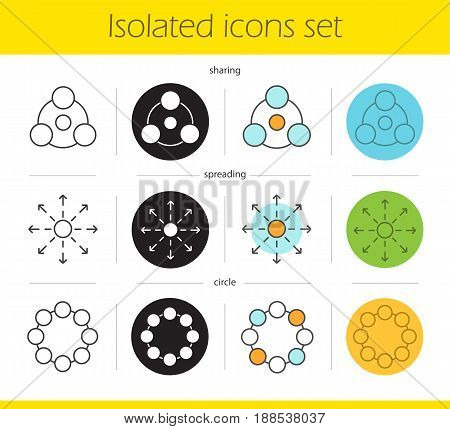 Abstract symbols icons set. Linear, black and color styles. Sharing, spreading, circle. Isolated vector illustrations