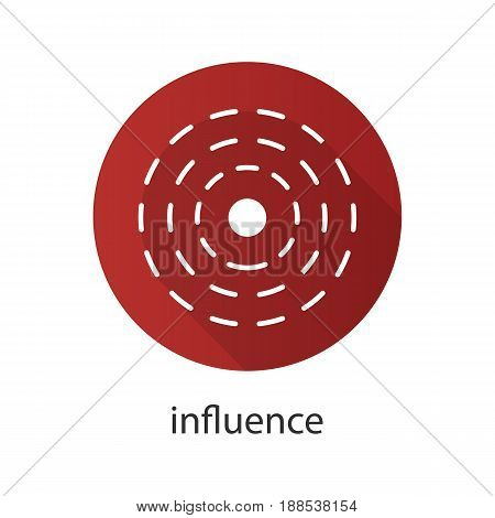 Influence abstract symbol. Flat design long shadow icon. Vector silhouette symbol