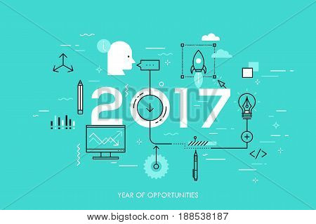 Infographic concept, 2017 - year of opportunities. Hot trends and prospects in idea creation, innovative activities, startup launch and development. Vector illustration in thin line style for website.