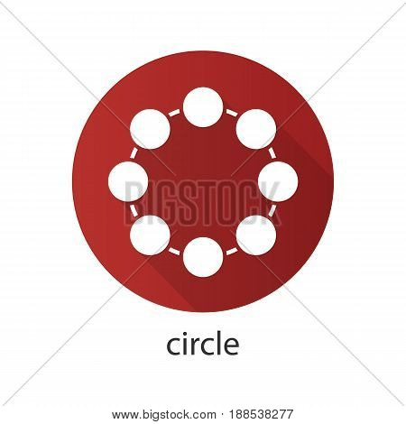 Circle flat design long shadow icon. Community concept. Vector silhouette symbol