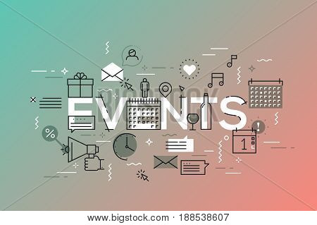 Thin line flat design banner for events web page, calendar, planning, marketing. Template for website and mobile application, easy to use and highly customizable.