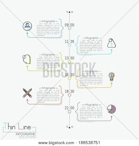 Vertical timeline with time indication, pictograms and text boxes. Modern infographic design template. Effective daily scheduling and task management concept. Vector illustration in thin line style.
