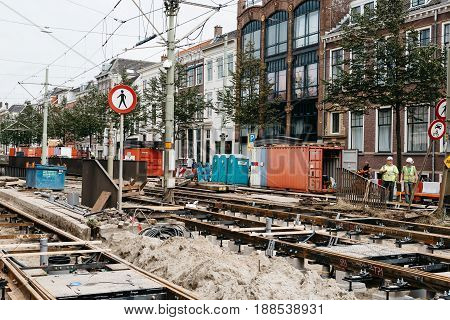 The Hague The Netherlands - August 7 2016: View of construction site for repairing tram tracks in the city centre of the Hague. The Hague is the seat of the Dutch government and multiple international organizations.