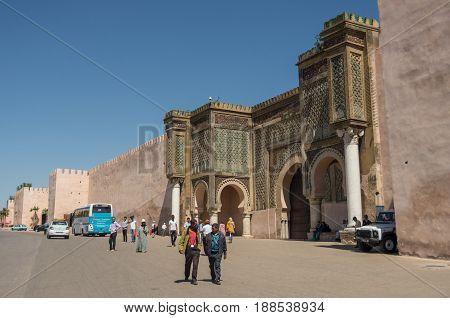 Meknes, Morocco - May 8, 2017: Gate of Bab el Mansour in Meknes