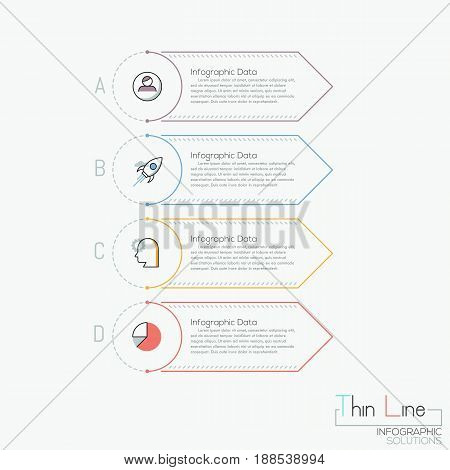 Creative infographic design template. 4 multicolored rectangular elements with letters, pictograms and text boxes. Four business options to choose concept. Vector illustration in thin line style.