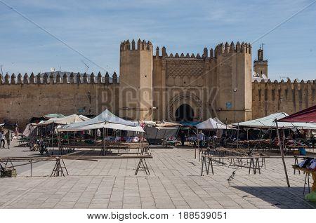 Fez, Morocco - May 9, 2017: Market in Bab Chorfa. Bab Chorfa is a gate to ancient Fez El Bali Medina (Old Town)