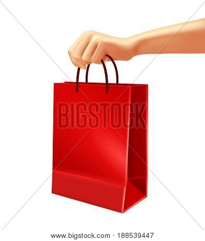 Hand holding blank red shopping bag from plastic or paper 3d design on white background vector illustration
