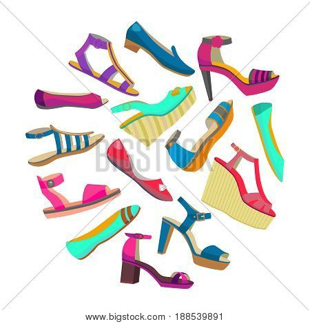 vector round isolated shoes composition with high heels and flat shoes