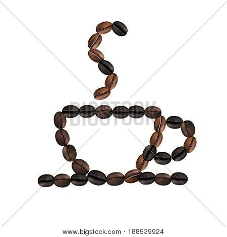 Roasted beans in form of cup with hot coffee on white background realistic vector illustration