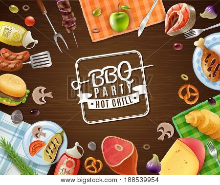 Bbq party frame with emblem meat vegetables fruits sauces pastry and napkins on wooden background vector illustration