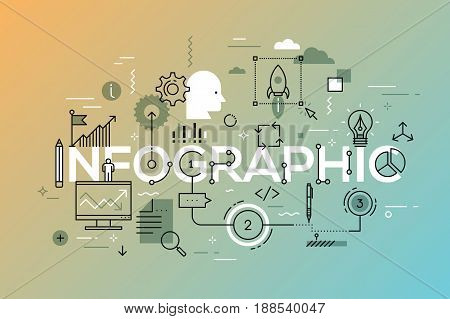 Creative infographic banner with elements in thin line style. Project management, strategy planning and successful business development concept. Vector illustration for advertisement, header, website.