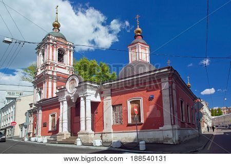 Moscow Russia - May 18 2017: Church of St. Nicholas in Podkopayevsky Lane in the center of Moscow