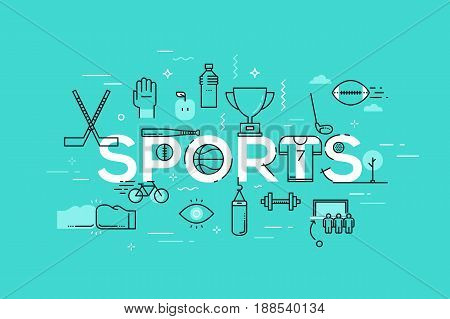 Creative infographic banner with elements in thin line style. Sports competition, fitness apparel and equipment, healthy lifestyle concept. Vector illustration for advertisement, header, website.