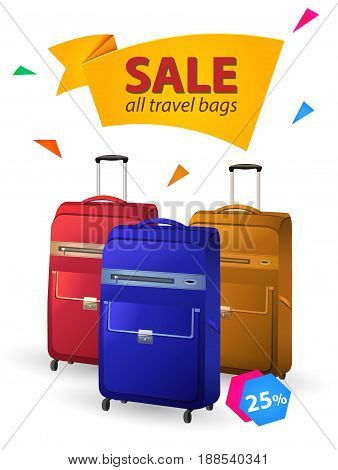 Sale all travel bags. Vector illustration three color travel bags on white Background.