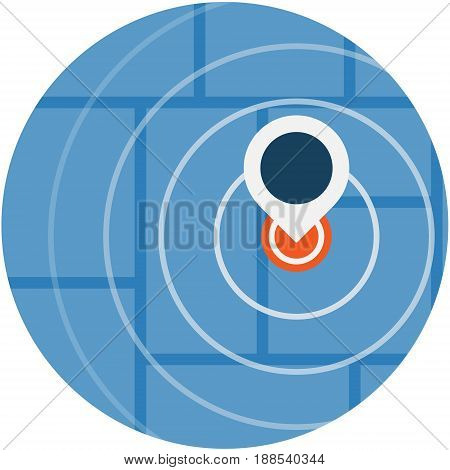 GPS Navigator Pin Blue Color Icon Symbol. GPS Map Location Pointer conceptual illustration isolated vector. Transparent.