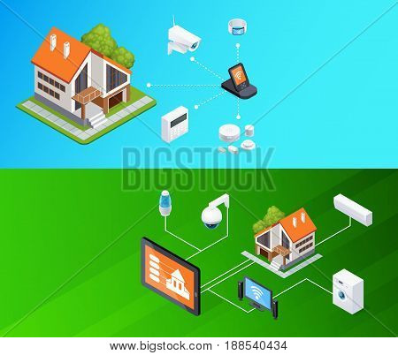 Smart home smartphone remote controlled electronic household appliances 2 outdoor horizontal isometric banners set background vector illustration