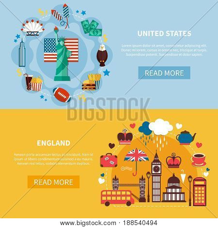 England and united states horizontal banners with decorative icons set described  national historic and culture landmarks flat vector illustration