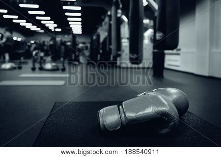Boxing gloves in the ring in the gym
