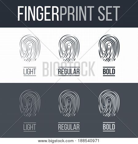 Abstract Fingerprints icons Set for Identity Person Security ID on Dark and White Background