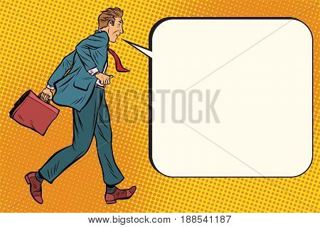 Ridiculous businessman says comic bubble. Pop art retro vector illustration