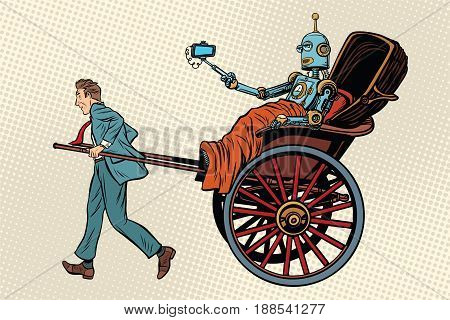 People rickshaw ride robot. Pop art retro vector illustration