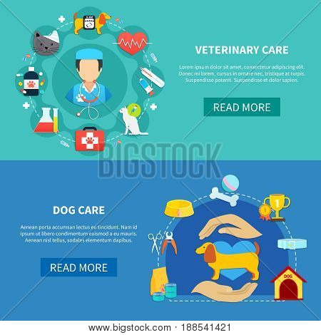 Veterinary care and accessories for pet dog horizontal banners flat isolated vector illustration