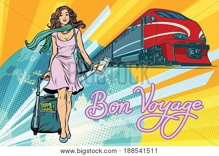 Railroad passenger train, Bon voyage. Beautiful young woman with Luggage. Pop art retro vector illustration