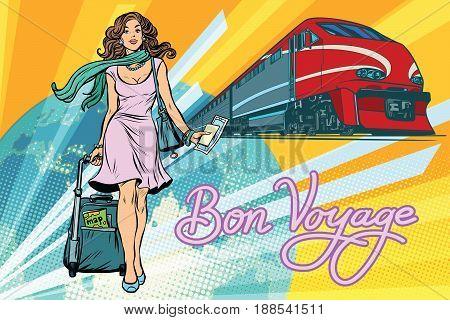Railroad passenger train, Bon voyage. Beautiful young woman with Luggage. Pop art retro vector illustration