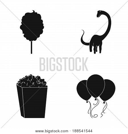 Sweet cotton wool on a stick, a toy dragon, popcorn in a box, colorful balloons on a string. Amusement park set collection icons in black style vector symbol stock illustration .