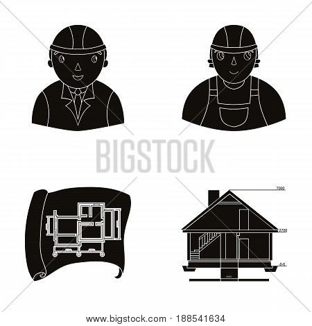 Engineer-constructor, construction worker, site plan, technical drawing of the house. Architecture set collection icons in black style vector symbol stock illustration .
