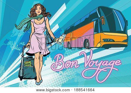 Beautiful young woman tourist passenger tour bus. Pop art retro vector illustration