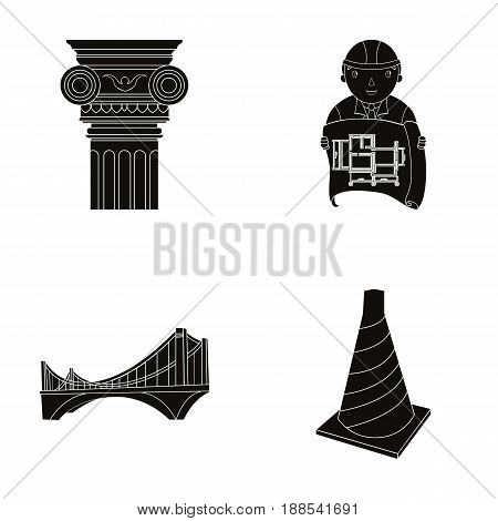 Column, master with drawing, bridge, index cone. Architecture set collection icons in black style vector symbol stock illustration .