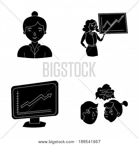 Businesswoman, growth charts, brainstorming.Business-conference and negotiations set collection icons in black style vector symbol stock illustration .