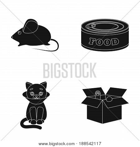 Mouse, food in the bank, sick cat, cat in the box.Cat set collection icons in black style vector symbol stock illustration .
