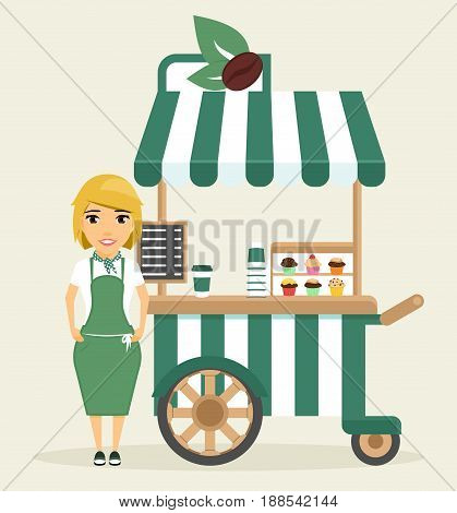 A young girl, the seller of coffee, standing next to the stalls on wheels. Small business, trade. In flat style, cartoon.