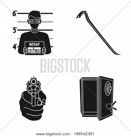 Photo of criminal, scrap, open safe, directional gun.Crime set collection icons in black style vector symbol stock illustration .