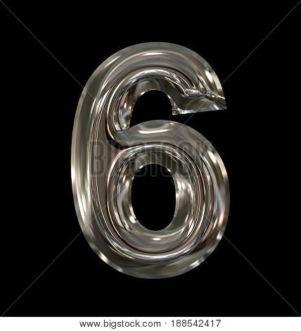 Number 6 Rounded Shiny Silver Isolated On Black