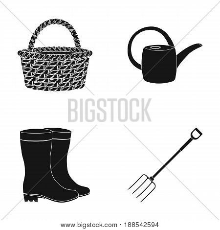 Basket wicker, watering can for irrigation, rubber boots, forks. Farm and gardening set collection icons in black style vector symbol stock illustration .