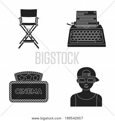 Chair of the director, typewriter, cinematographic signboard, film-man. Films and cinema set collection icons in black style vector symbol stock illustration .