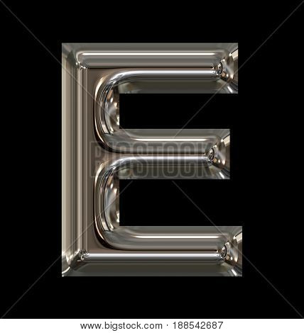 Letter E Rounded Shiny Silver Isolated On Black
