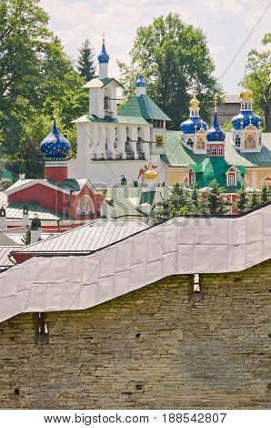 Orthodox cathedral. Pskov-Pechersky Monastery. Pechory, Pskov, Russia