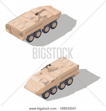 Modern infantry combat vehicle isometric icon set vector graphic illustration