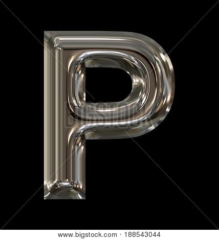 Letter P Rounded Shiny Silver Isolated On Black