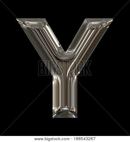 Letter Y Rounded Shiny Silver Isolated On Black