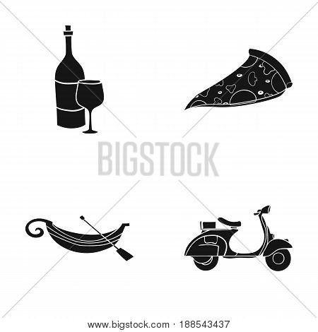 A bottle of wine, a piece of pizza, a gundola, a scooter. Italy set collection icons in black style vector symbol stock illustration .