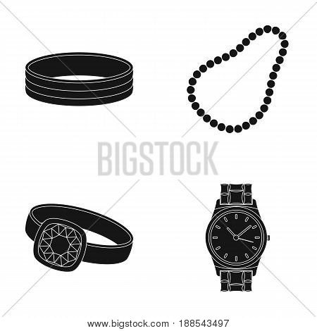 Engagement ring, beads from pearls, men's ring, wristwatch gold. Jewelery and accessories set collection icons in black style vector symbol stock illustration .