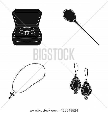 Ring in a case, hair clip, earrings with stones, a cross on a chain. Jewelery and accessories set collection icons in black style vector symbol stock illustration .