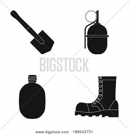 Sapper blade, hand grenade, army flask, soldier's boot. Military and army set collection icons in black style vector symbol stock illustration .